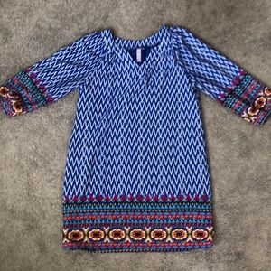 Blue shift dress with tribal accents